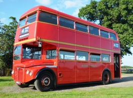 Red Routemaster bus for weddings in Telford